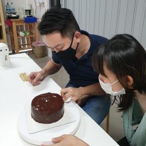 making fudge cake